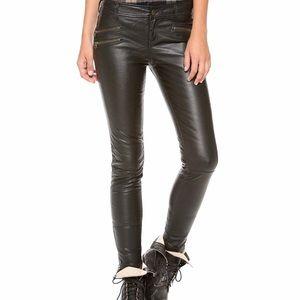 FREE PEOPLE Black Faux Leather Moto Pant